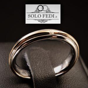 Polello - Fede in oro bianco e rosa con Diamante - Solo Fedi Torino