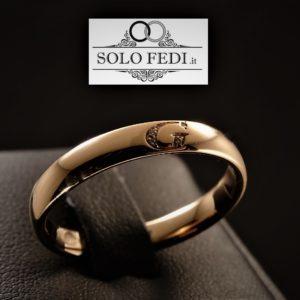 Polello - Fede con iniziale e Diamanti - Oro rosa - Solo Fedi Torino