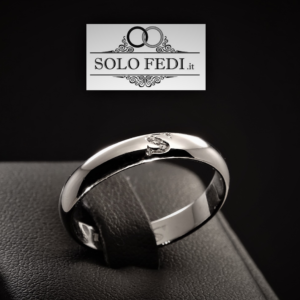Polello - Fede classica con iniziale e Diamanti - Oro bianco - Solo Fedi Torino