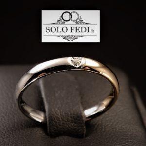 Polello - Fede Cuore in oro bicolore con Diamante - Solo Fedi Torino
