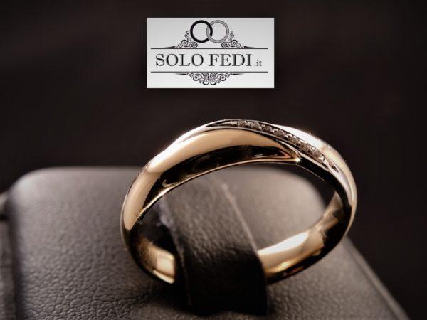 Polello - Fede con Diamanti - Oro Rosa e Bianco - Solo Fedi Torino