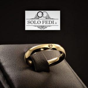Polello - Fede Cuore in oro Giallo con Diamante - Solo Fedi Torino