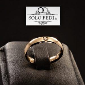Polello - Fede Cuore in oro Rosa con Diamante - Solo Fedi Torino