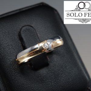 Fede CONFORT Oro Bianco-Rosa con DIAMANTE